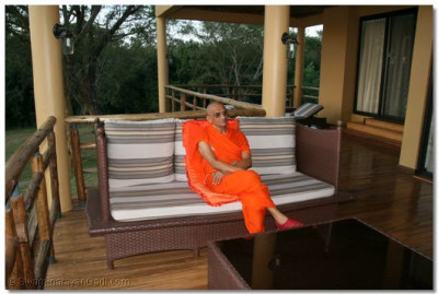 HDH Acharya Swamishree at his quarters at Chobe Safari Lodge