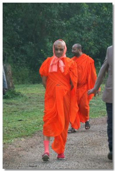Divine darshan of Acharya Swamishree as he enjoys an early morning walk