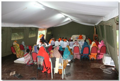 Evening congregation in a large tent at Lake Manyara Serena Lodge
