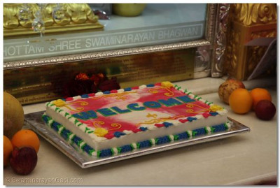 Welcome cake made by devotees