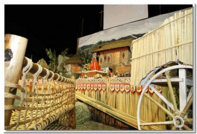 Some of the scenes on the stage that portrays a village scene