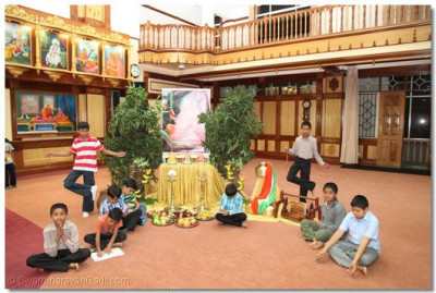 Young devotees performing various activities to please the Lord