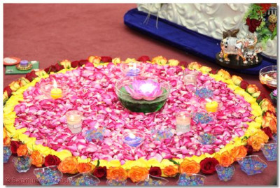 Decoration of candles and flower for Dev Diwali and Chhathi.