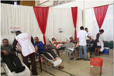 Blood donation in progress
