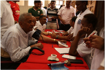 Volunteers being examined for blood pressure