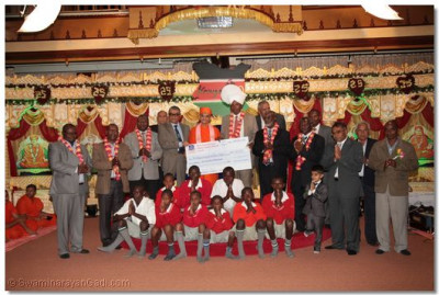 The deaf and blind society presented with a cheque of khs. 500,000 each.