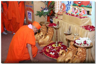 Acharya Swamishree performing the veneration