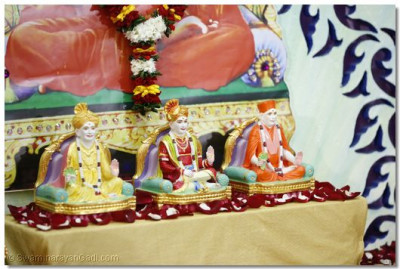 Divine darshan of Shree Swaminarayan Bhagwan, Jeevanpran Bapashree and Muktajeevan Swamibapa