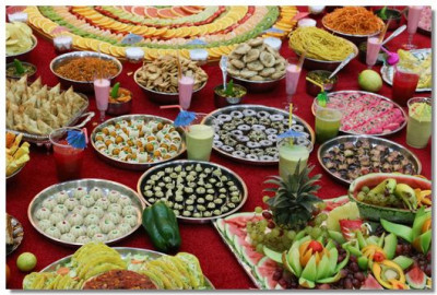 An array of tasteful cuisines offered to The Lord
