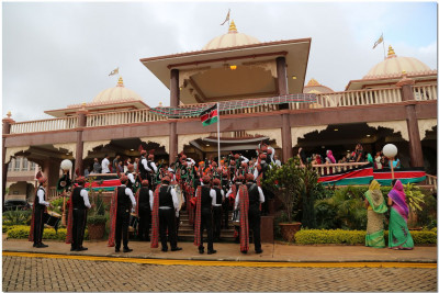 H H Swamibapa Pipe Band plays the Kenyan National Anthem