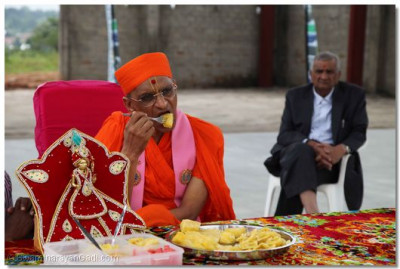 Acharya Swamishree having pineapple.