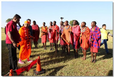 The Maasais performing a welcome dance