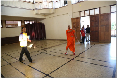 Acharya Swamishree at the opening of Badminton tournament