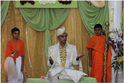 Devotees perform a skit for the occasion