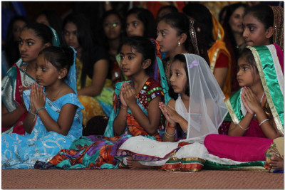 Young devotees performing in the skit