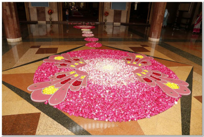 A welcome flower rangoli