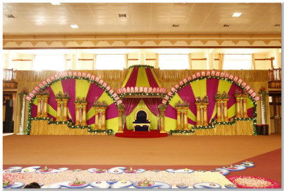 Stage decorated for Acharya Swamishrees' 27th vicharan