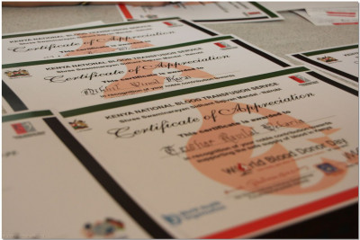 Certificates of appreciation given to donors