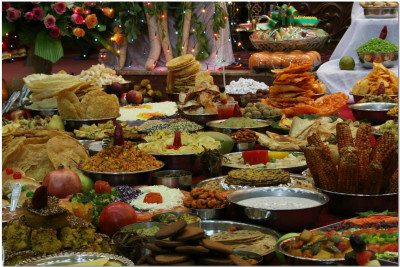 A beautiful array of prasad offerings given to The Lord