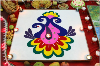 A beautiful display of a hand crafted rangoli
