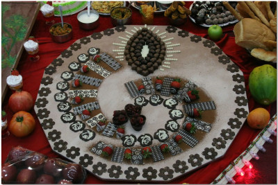 A beautiful rangoli display of delicious chocolate