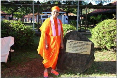 Acharya Swamishree Majaraj at the handicapped school