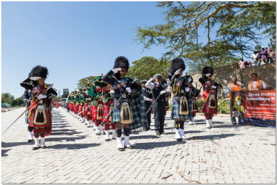 Shree Muktajeevan Swamibapa Pipe Bands performing on the streets of Narok