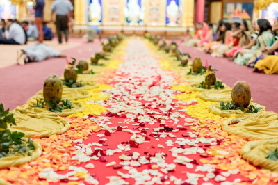 Decorated walkway for Acharya Swamishree
