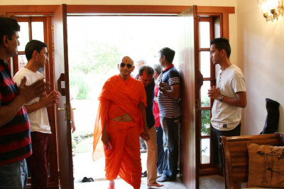Acharya Swamishree arrives at his  cottage