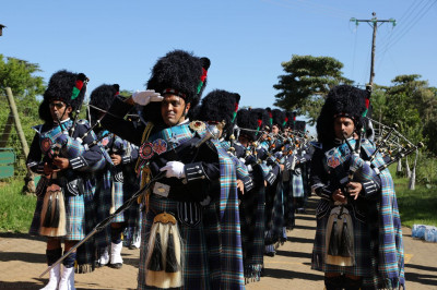 Shree Muktajeevan Swamibapa Pipe Band Nairobi performs at the environment conservation and world peace rally at Naivasha