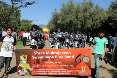 Shree Muktajeevan Swamibapa Pipe Band Nairobi performs during the rally at Naivasha