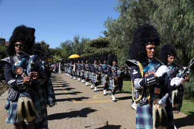 Shree Muktajeevan Swamibapa Pipe Band Nairobi performs during the rally at the resort