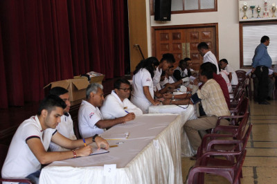 Some of the volunteers at work during the blood donation camp