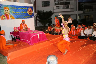 One of the sants perform a dance to please Lord Swaminaryanbapa Swamibapa