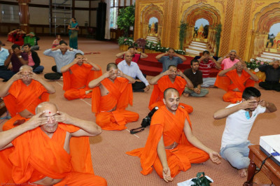 Sant mandal and devotees perform pranayams during the yoga session