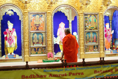 Acharya Swamishree performs Shayan Aarti