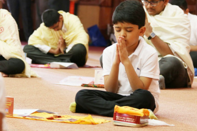 Mansipuja performed by young devotees during the pooja vidhi