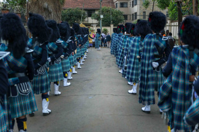 Shree Muktajeevan Swamibapa Pipe Band Nairobi ready to welcome His Divine Holiness Acharya Swamishree and Sant Mandal