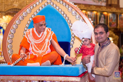 His Divine Holiness Acharya Swamishree blesses the devotees