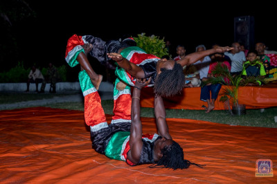 Acrobats showcasing their talent to please Lord Swaminarayanbapa Swamibapa