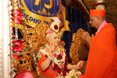 Acharya Swamishree prays to Gurudev Shree Muktajeevan Swamibapa