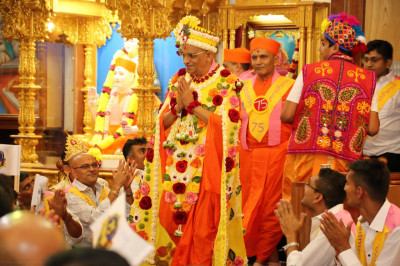 Divine darshan of Acharya Swamishree adorrned in delicate flower vaghas
