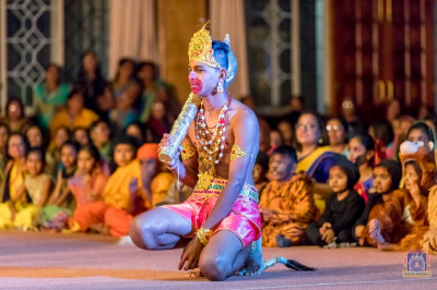 A student plays the role of Hanumanji in the play
