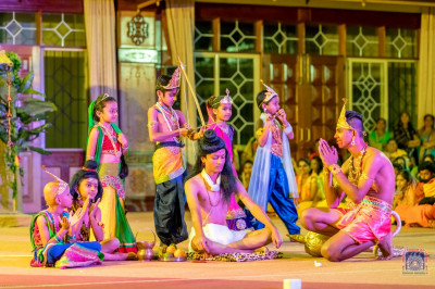 Students of Swamibapa Education Center participate as deities in the play