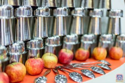 A beautiful display of utensils and fruits