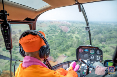 H.D.H Acharya Swamishree tours on a helicopter of the Mara Elephant Project Trust