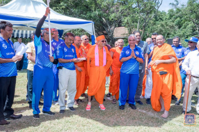 H.D.H Acharya Swamishree arrives at the ground