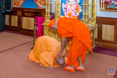 Swami Adhyatmananda performs darshan to H.D.H Acharya Swamishree