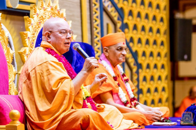 Swami Adhyatmananda gives a devotional speech