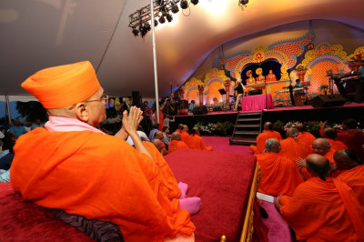Acharya Swamishree and sants are thoroughly impressed by Jeffrey Iqbal�s renditions of published kirtan-bhakti
